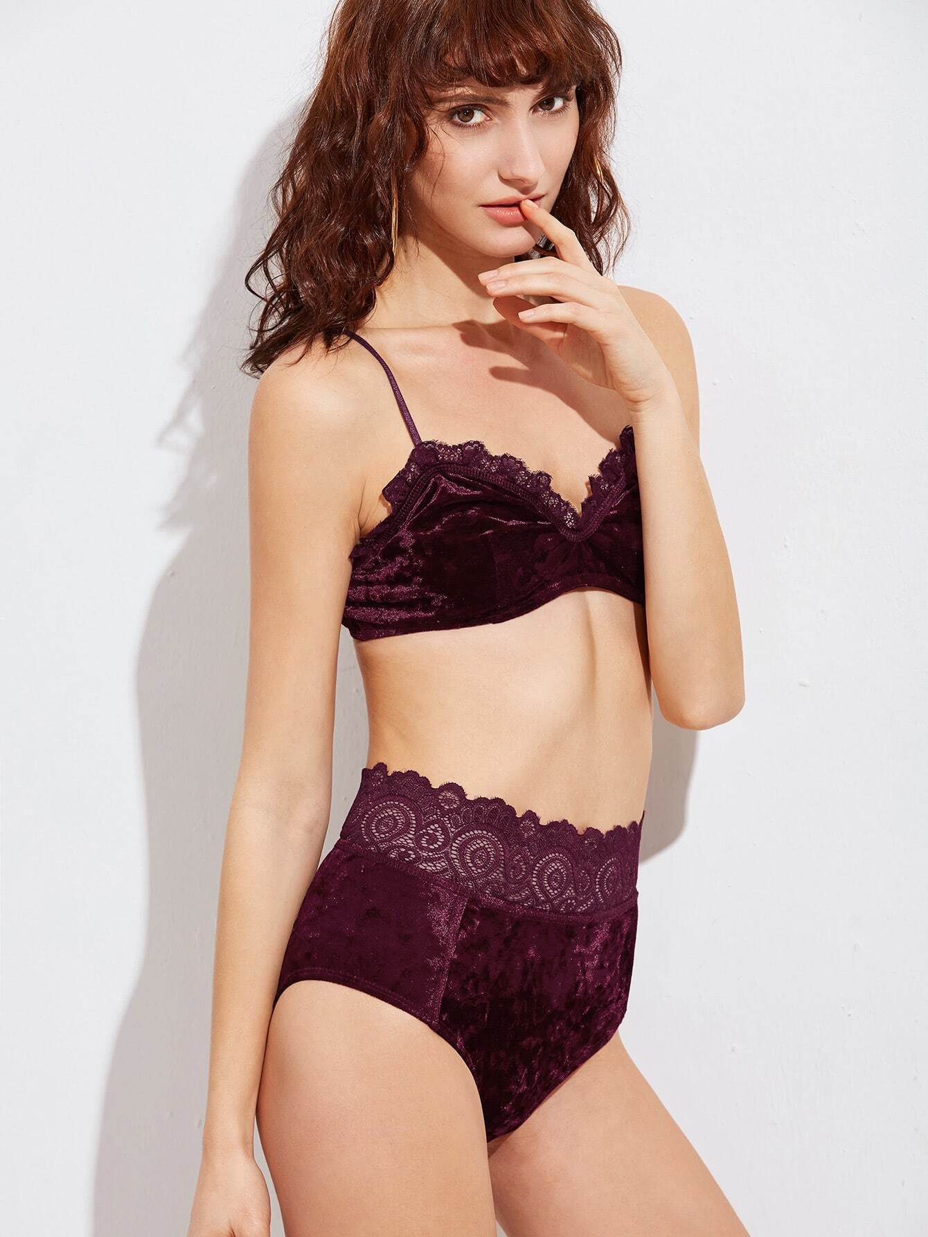 Lace Trim Velvet Lingerie Set -SheIn(Sheinside)
