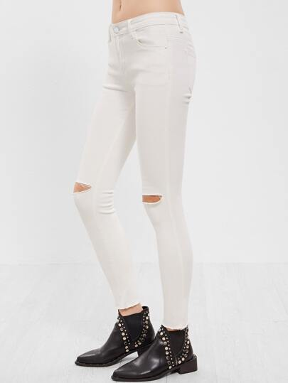 White Knee Ripped Skinny Jeans
