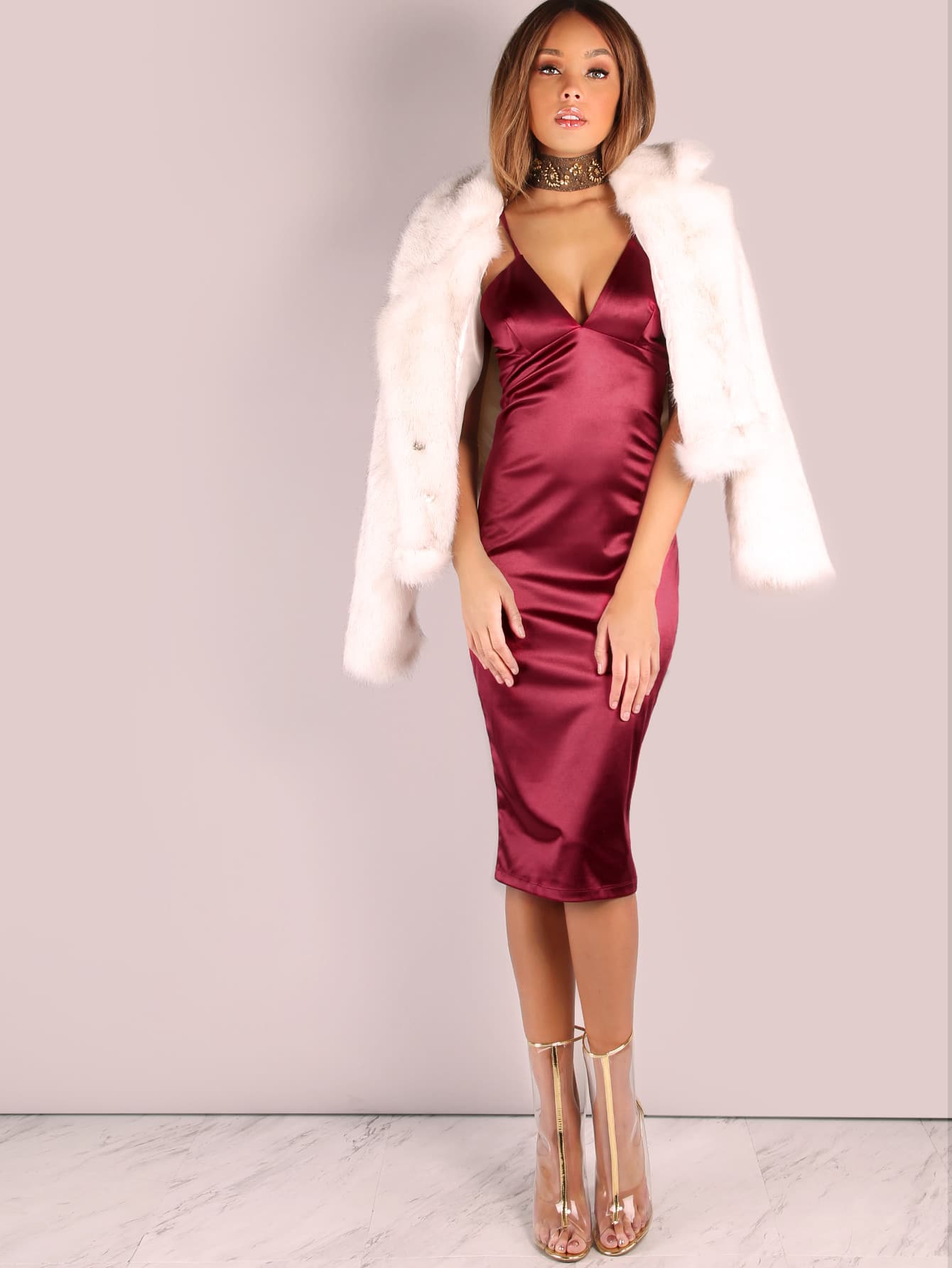 Deep V Neckline Satin Dress Wine Shein Sheinside
