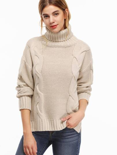 Turtleneck Slit Side High Low Cable Knit Sweater