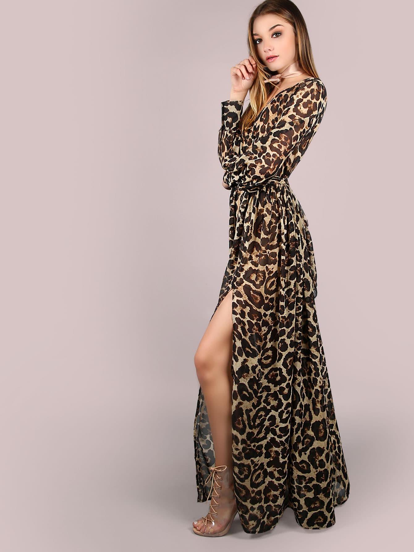 Leopard Print Surplice Neckline Chiffon Dress Shein