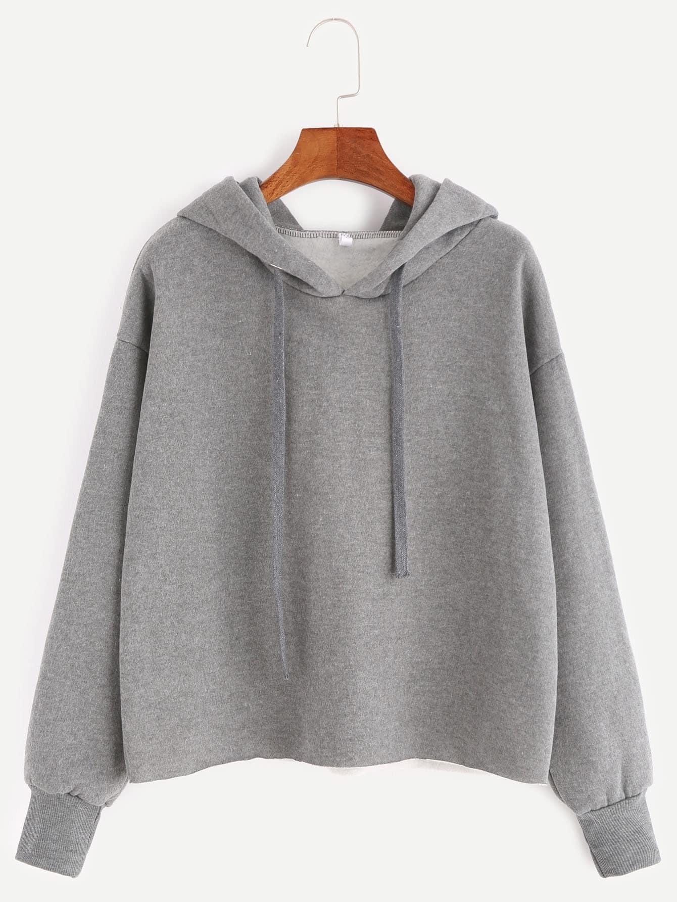 Фото Grey Hooded Drop Shoulder Sweatshirt. Купить с доставкой