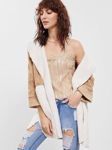 Color Block Fluffy Faux Fur Coat