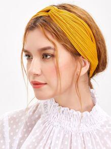 Orange Textured Knit Knotted Headband