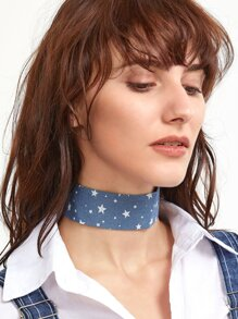 Blue Star Print Denim Wide Choker