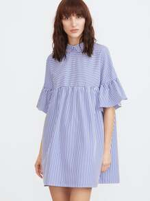 Striped Pointed Collar Ruffle Sleeve Babydoll Dress