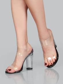 Clear Strap Chunk Heel Sandals BLACk