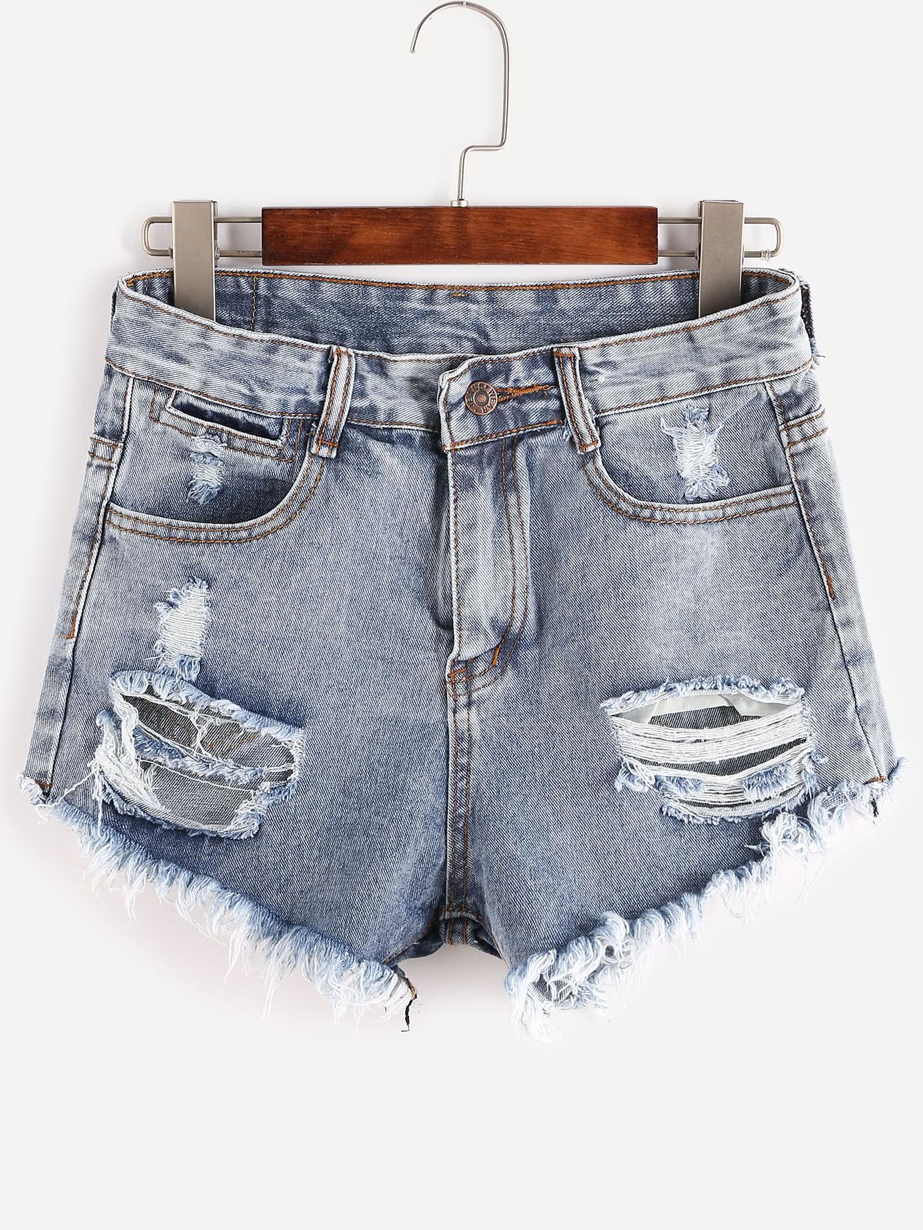 Bleached Raw Hem Destroyed Denim Shorts