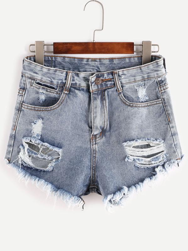 Bleached Raw Hem Destroyed Denim Shorts, null