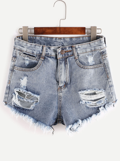 Bleached Raw Hem Destroyed Denim Shorts