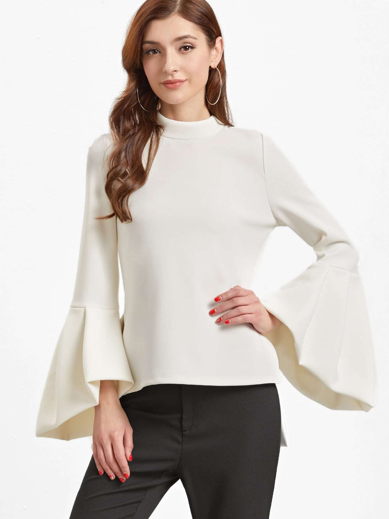 White Pleated Bell Sleeve And Back High Low Top blouse161205702
