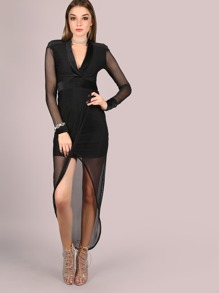 Deep V Mesh Wrap Dress BLACK