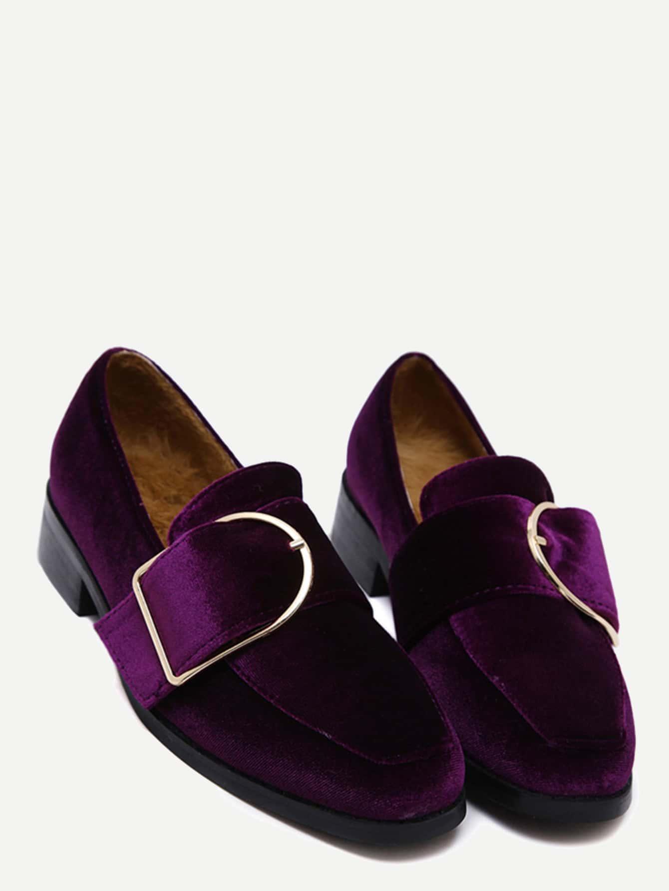 Фото Purple Buckled Strap Velvet Low Heel Pumps. Купить с доставкой