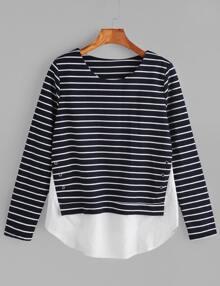 2 in 1 T-shirt mit Streifen Kontrast Saum-marine