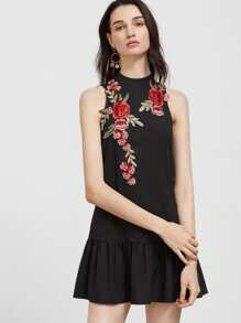 Black Embroidered Rose Applique Open Back Drop Waist Dress
