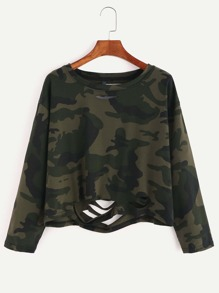 Camo Print Ripped Crop T-shirt