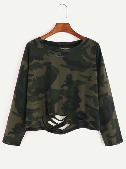 Kurze T-shirt mit Zerrissen Design Camo Druck