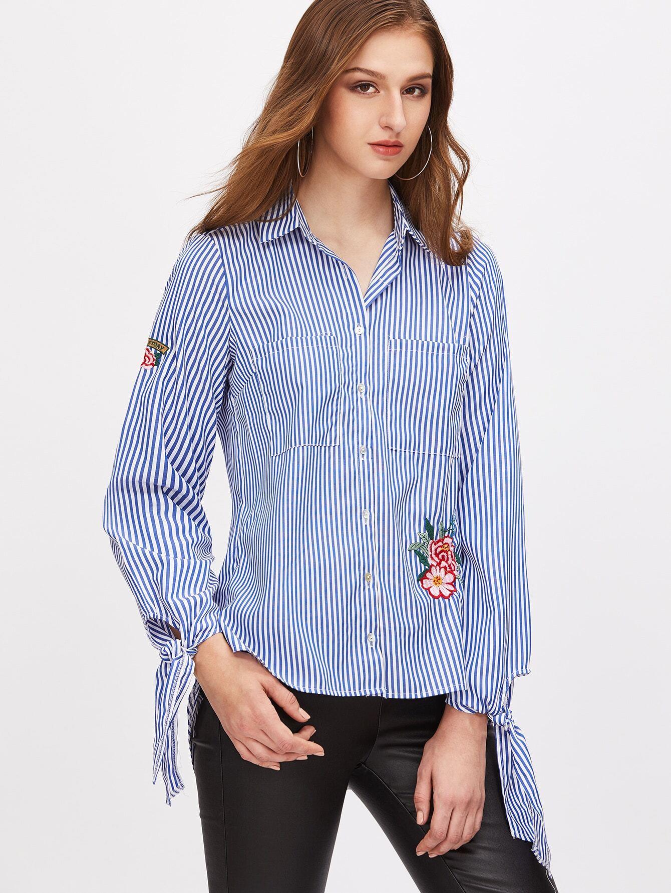 Blue striped flower embroidered tie cuff shirt shein