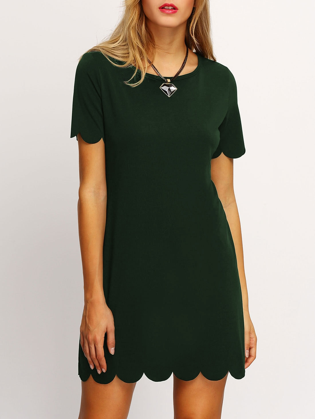 Buttoned Keyhole Back Scallop Dress scallop ruffle hem buttoned keyhole back shell top