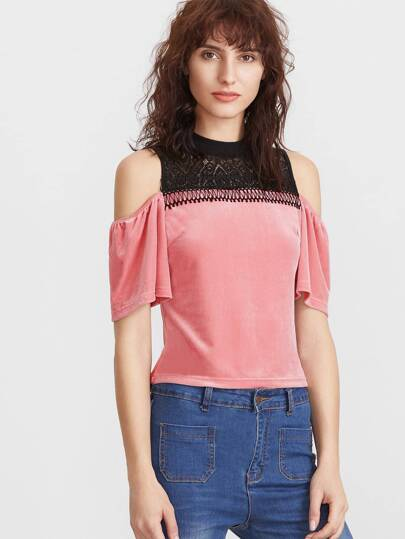 Pink Contrast Lace Neck Cold Shoulder Velvet Top