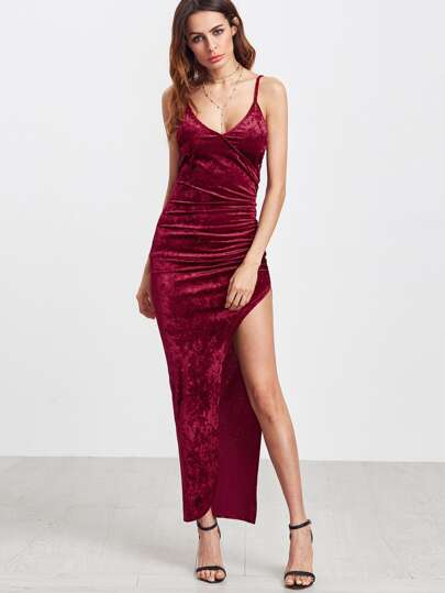 Surplice Front Ruched High Slit Velvet Cami Dress