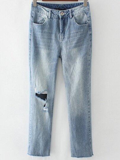 Blue Cutout Raw Hem Skinny Jeans