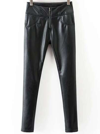 Black Zipper Fly Skinny PU Pants