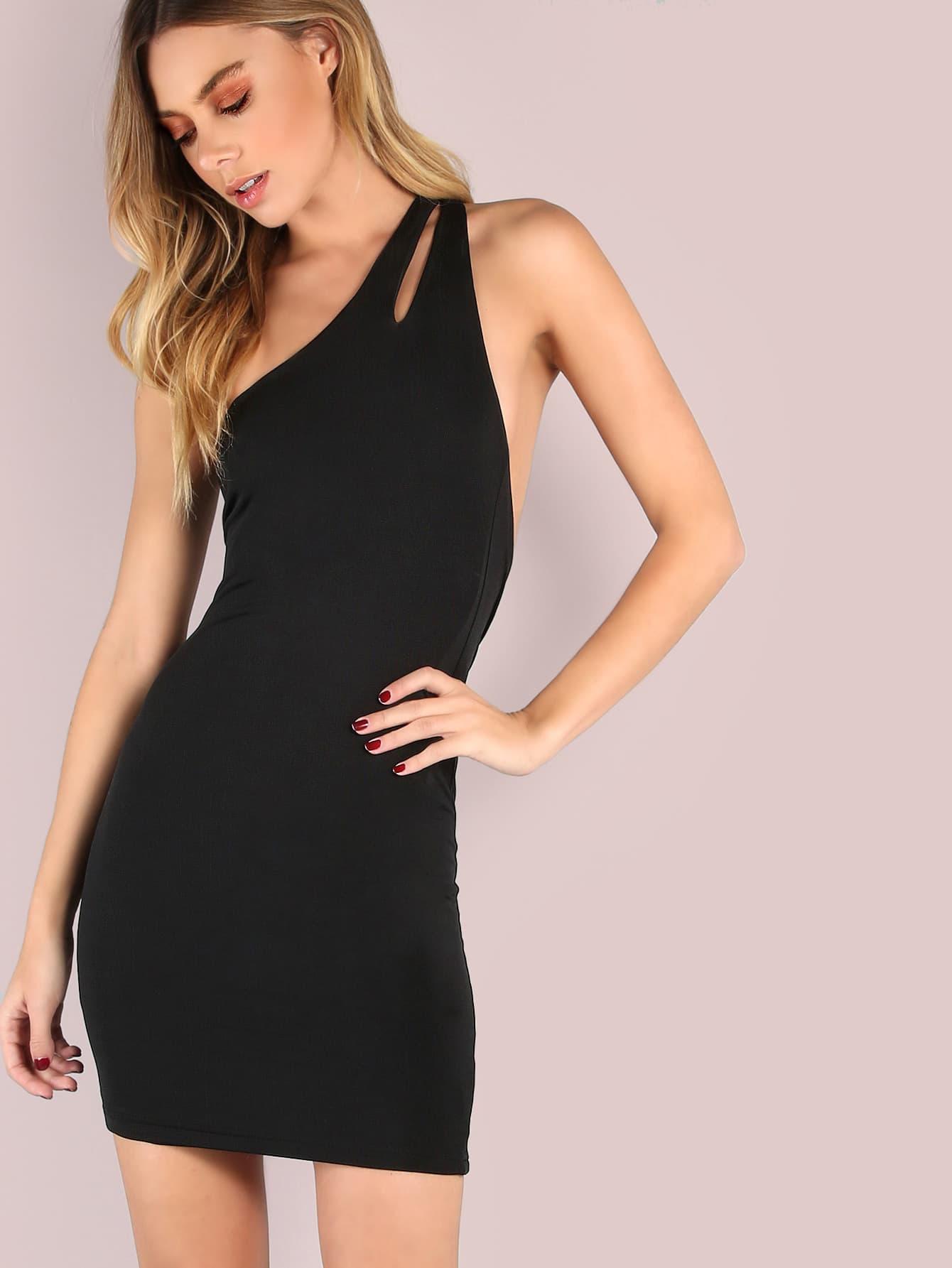 Фото Backless One Shoulder Bodycon Mini Dress. Купить с доставкой