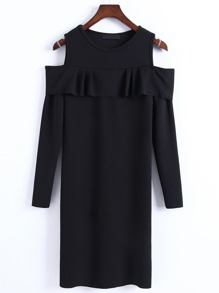 Black Open Shoulder Ruffle Bodycon Sweater Dress