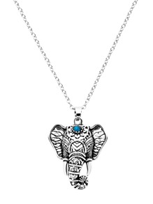 Antique Silver Elephant Design Statement Necklace