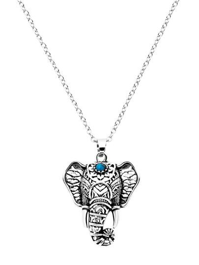 Antique Silver Elephant Design Statement Necklace