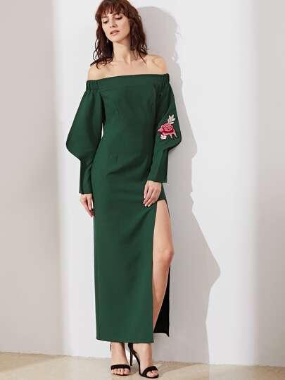 Green Off The Shoulder Embroidered Rose Applique High Slit Tailored Dress