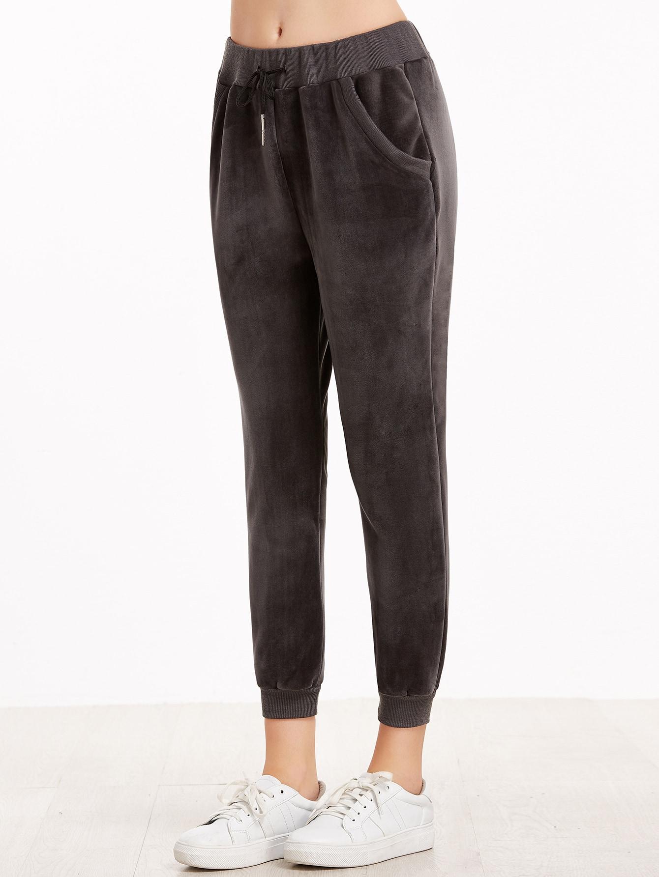 Dark Grey Drawstring Ribbed Trim Velvet Pants pants161202101