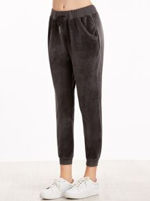 Dark Grey Drawstring Ribbed Trim Velvet Pants