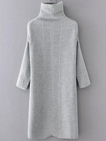 Grey Turtleneck Drop Shoulder Sweater Dress