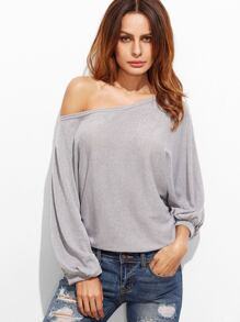 Grey Lantern Sleeve Loose T-shirt
