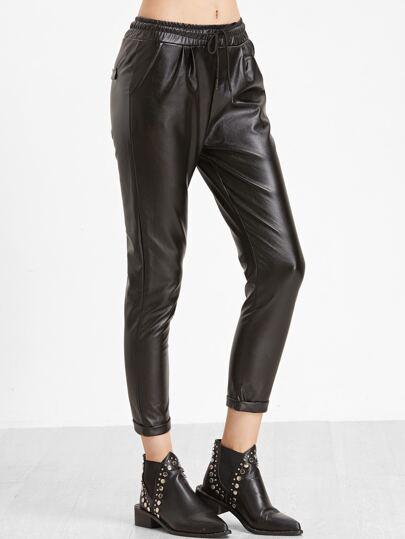 Black Faux Leather Drawstring Waist Ankle Pants