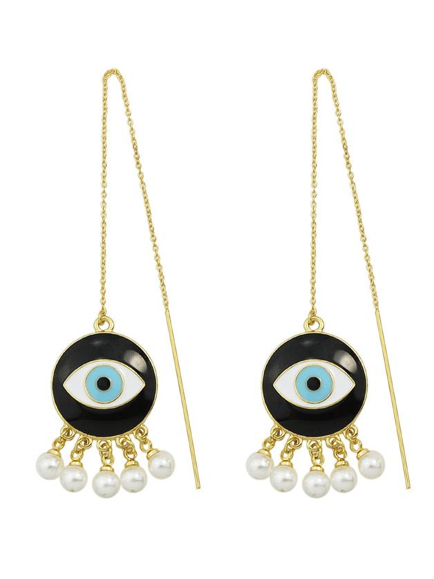 Gold Pearl Eye Shape Long EarringsGold Pearl Eye Shape Long Earrings<br><br>color: Gold<br>size: None