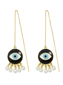 Gold Pearl Eye Shape Long Earrings