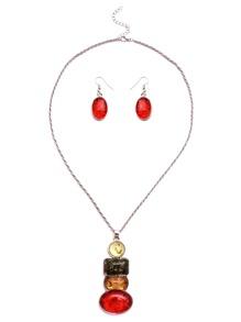 Silver Tone Colored Gem Pendant Twist Necklace