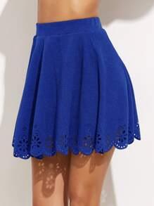 Falda hueca de laser con ribete festoneado - azul real