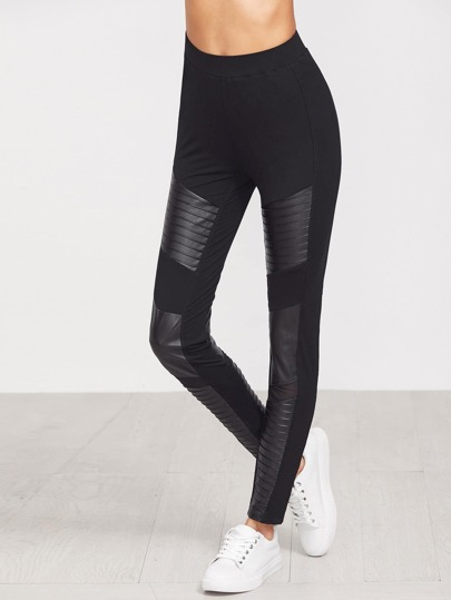 Black Quilted Faux Leather Panel Leggings