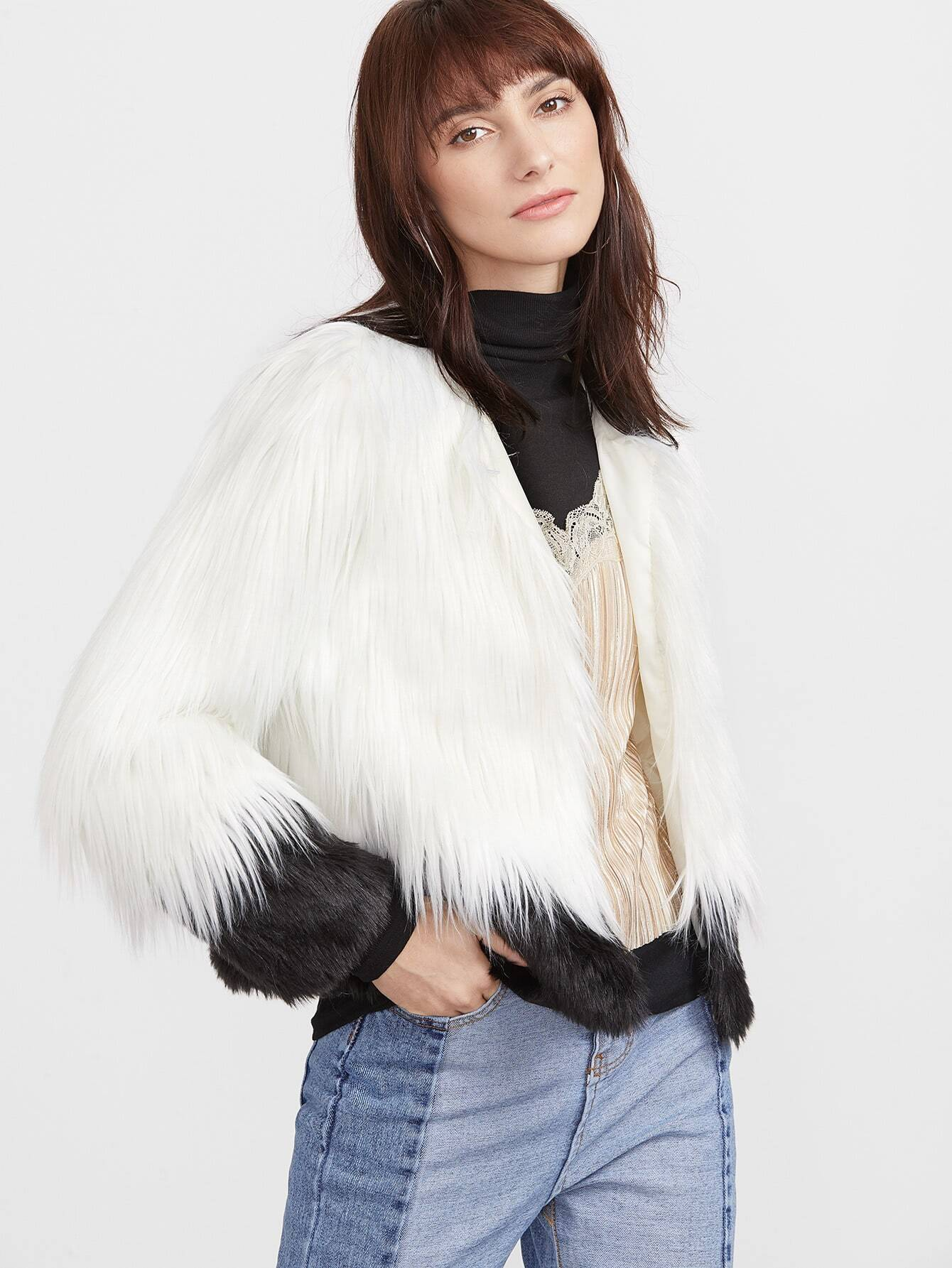 Coats Black and White Faux Fur Collarless Elegant Short Winter Color Block Fabric has no stretch Long Sleeve YES Outerwear.