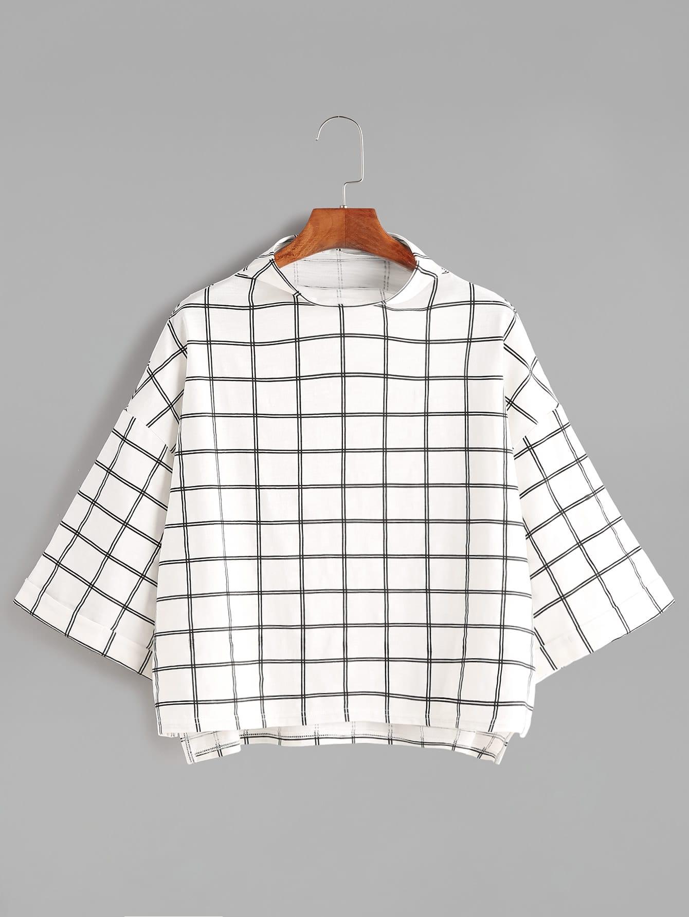 Фото Funnel Neck Drop Shoulder Grid T-shirt. Купить с доставкой