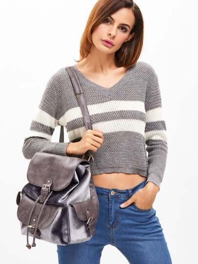 Grey PU and Velvet Flap Pocket Drawstring Backpack