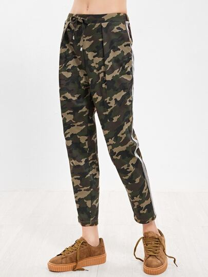 Olive Green Camo Print Drawstring Waist Tapered Pants