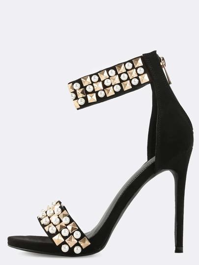Studded Open Toe Pearl Heels BLACK