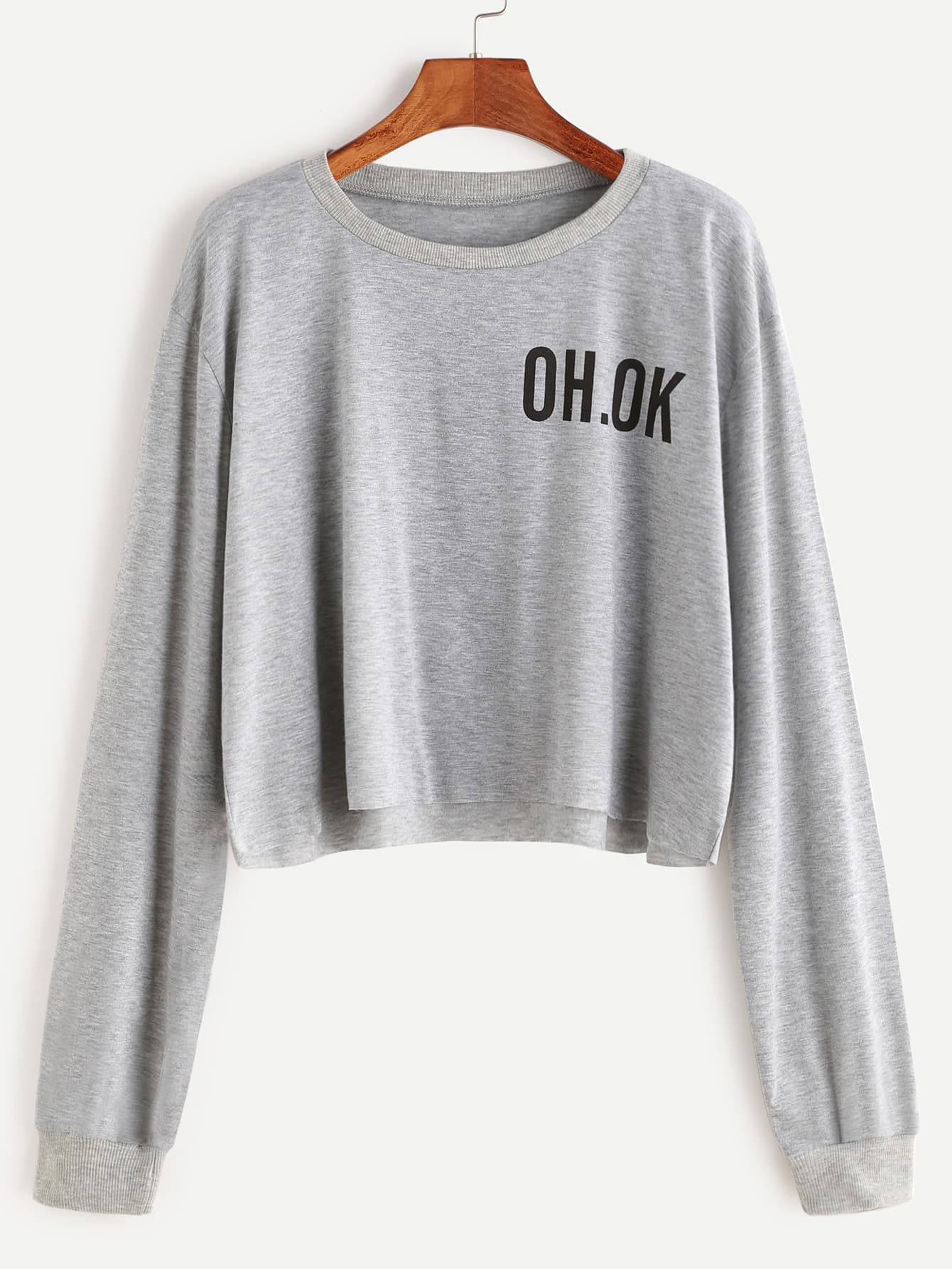 Grey Drop Shoulder Letter Print Raw Hem Crop Sweatshirt sweatshirt161229003
