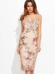 Pink Split Back Sequin Embroidered Cami Dress