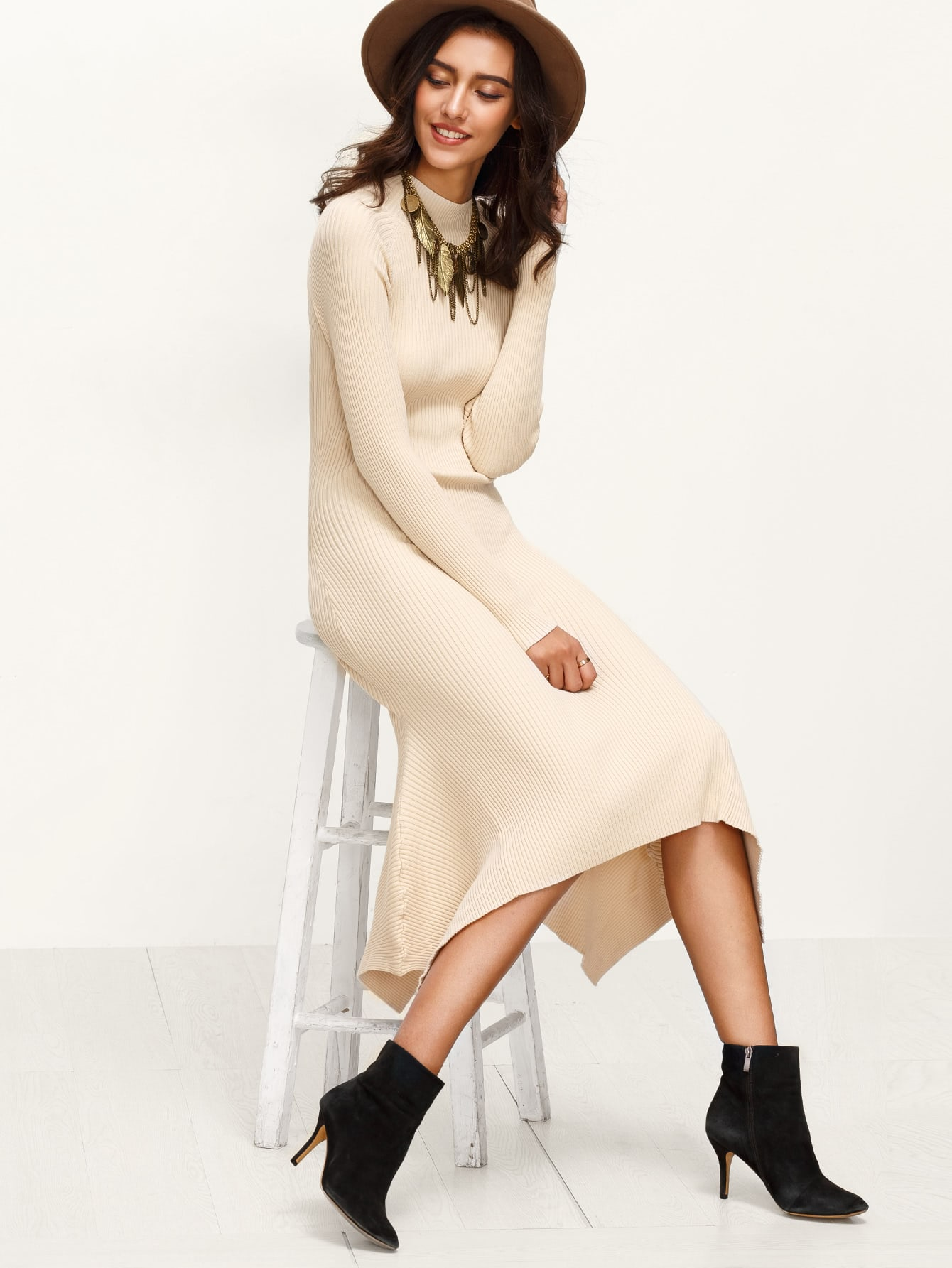 Apricot Ribbed Knit Cutout Lace Up Back Asymmetric Dress dress161026451